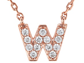 White Cubic Zirconia 18K Rose Gold Over Sterling Silver W Necklace 0.20ctw