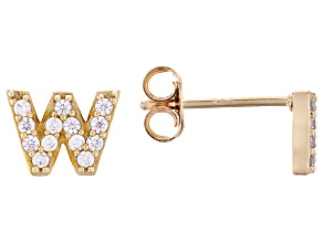 White Cubic Zirconia 18K Yellow Gold Over Sterling Silver W Earrings 0.40ctw
