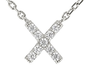 White Cubic Zirconia Rhodium Over Sterling Silver X Necklace 0.14ctw