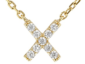 White Cubic Zirconia 18K Yellow Gold Over Sterling Silver X Necklace 0.14ctw
