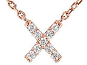 White Cubic Zirconia 18K Rose Gold Over Sterling Silver X Necklace 0.14ctw