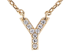 White Cubic Zirconia 18K Yellow Gold Over Sterling Silver Y Necklace 0.08ctw