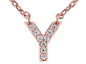 White Cubic Zirconia 18K Rose Gold Over Sterling Silver Y Necklace 0.08ctw