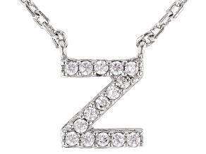 White Cubic Zirconia Rhodium Over Sterling Silver Z Necklace 0.13ctw