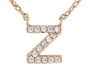 White Cubic Zirconia 18K Yellow Gold Over Sterling Silver Z Necklace 0.13ctw