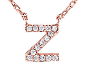 White Cubic Zirconia 18K Rose Gold Over Sterling Silver Z Necklace 0.13ctw