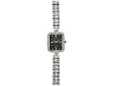 ladies round and oval diamond simulant 13.5 CTW sterling silver black mop dial watch
