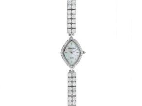 Ladies Round Diamond Simulant 14.4ctw Sterling White Watch