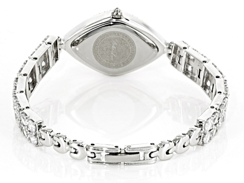 Ladies Round Diamond Simulant 14.4ctw Sterling White Watch