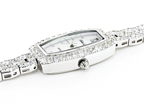 Ladies Round Diamond Simulant 8.64ctw Sterling White Watch
