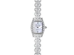 Ladies Round Diamond Simulant 6.08ctw Sterling White Watch