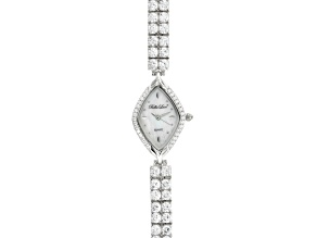 Ladies Round Diamond Simulant 21.44 Ctw Sterling White Watch
