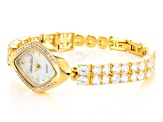 Ladies Round Diamond Simulant 21.44 Ctw Gold Over Sterling Silver Watch