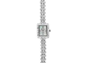 Ladies Round Diamond Simulant 9.32 Ctw Sterling Silver Watch