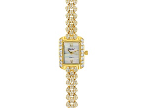 Ladies Round Diamond Simulant 9.32 Ctw 18kt Gold Over Sterling Silver Watch