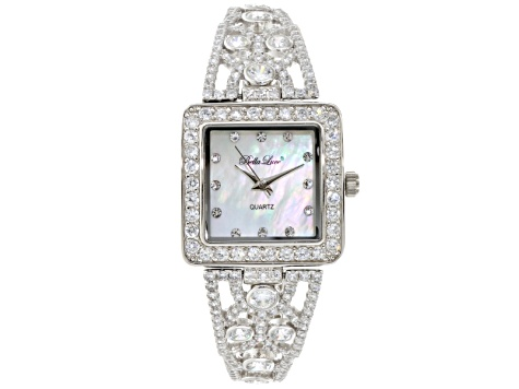 Ladies Round  Diamond Simulant 9.79 Ctw Sterling Silver Watch