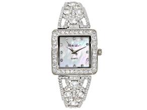 Ladies Round  Diamond Simulant 9.79 Ctw Sterling Silver Watch