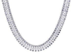 Cubic Zirconia Sterling Silver Necklace 208.50ctw