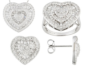 White Cubic Zirconia Sterling Silver Heart Jewelry Set 4.26ctw