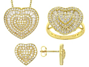 White Cubic Zirconia 18k Yg Over Sterling Silver Heart Jewelry Set 4.26ctw