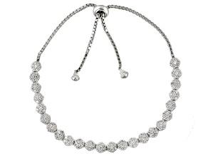 Cubic Zirconia Silver Adjustable Bracelet 4.04ctw