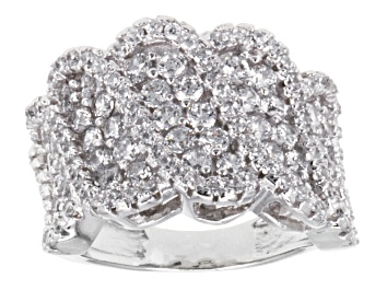 Picture of Cubic Zirconia Rhodium Over Sterling Silver Ring 2.37ctw