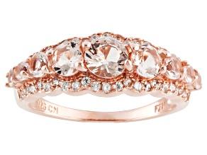 Morganite Simulant And White Cubic Zirconia 18k Rose Gold Over Silver Ring 1.61 Ctw