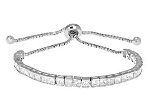 Cubic Zirconia Silver Adjustable Bracelet 9.30ctw