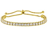 Cubic Zirconia 18k Yellow Gold Over Sterling Silver Adjustable Bracelet 9.30ctw