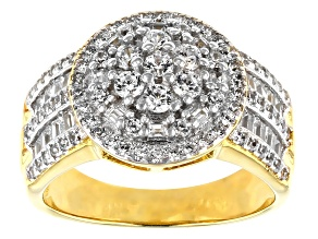 White Cubic Zirconia 18k Yellow Gold Over Sterling Silver Ring 2.00ctw