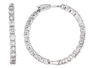 Cubic Zirconia Sterling Silver inside Out Hoop Earrings 15.80ctw