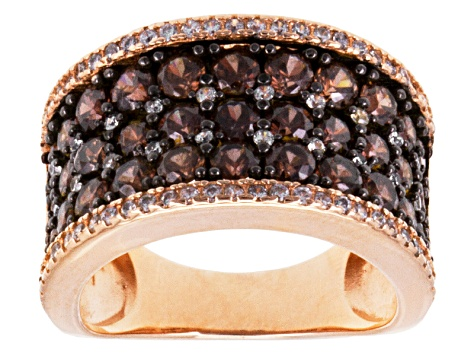Brown And White Cubic Zirconia 18k Rose Gold Over Silver Ring 4.50ctw