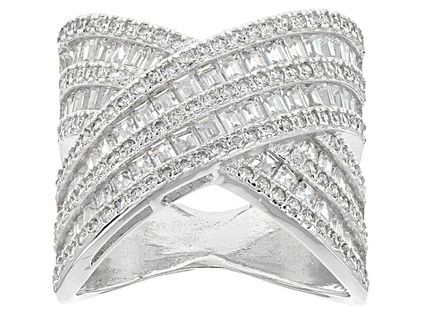 White Cubic Zirconia Sterling Silver Ring 4.65ctw