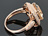 Morganite Simulant And Cubic Zirconia 18k Rose Gold Over Silver Ring 4.10ctw