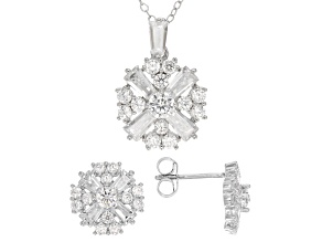 Cubic Zirconia Silver Earring And Pendant Set 3.00ctw