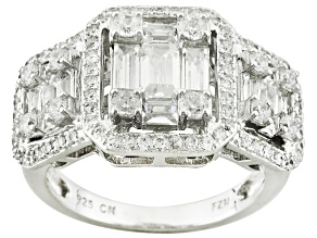 White Cubic Zirconia Rhodium Over Sterling Silver Ring 2.70ctw