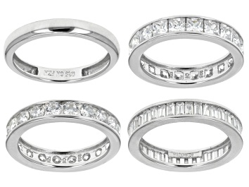 Picture of White Cubic Zirconia Rhodium Over Sterling Silver Bands, Set Of 4 10.73ctw