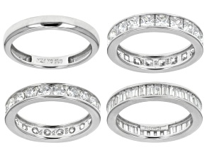 White Cubic Zirconia Sterling Silver Bands, Set Of 4 10.73ctw