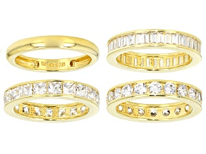 White Cubic Zirconia 18k Yellow Gold Over Sterling Silver Rings Set Of 4 10.73ctw