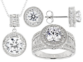 White Cubic Zirconia Sterling Silver Jewelry Set 13.00ctw