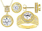 White Cubic Zirconia 18k Yellow Gold Over Sterling Silver Jewelery Set 13.00ctw
