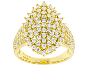 White Cubic Zirconia 18k Yellow Gold Over Sterling Silver Ring 2.18ctw