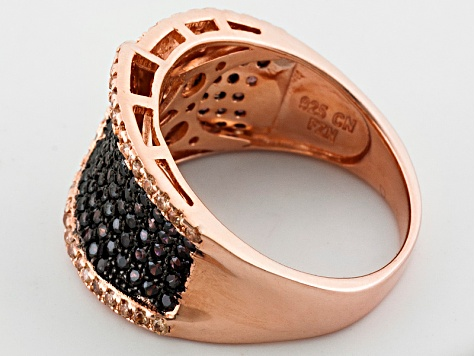 Brown Cubic Zirconia 18k Rose Gold Over Silver Ring 1.90ctw.