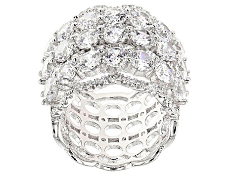 White Cubic Zirconia Rhodium Over Sterling Silver Ring 10.73ctw