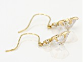 White Cubic Zirconia 10k Yellow Gold Heart Drop Earrings 5.85ctw