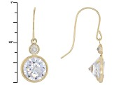 White Cubic Zirconia 10k Yellow Gold Earrings 6.92ctw