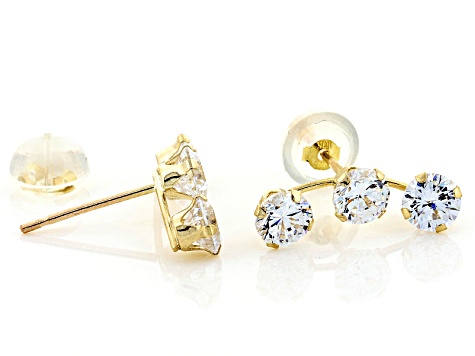White Cubic Zirconia 10k Yellow Gold Earrings 2.45ctw