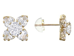 White Cubic Zirconia 10k Yellow Gold Earrings 4.77ctw
