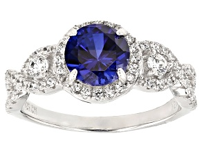 Blue Lab Created Sapphire And White Cubic Zirconia Rhodium Over Sterling Silver Ring 2.76ctw