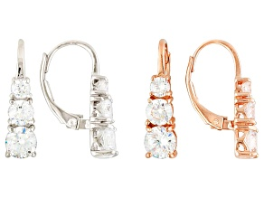 White Cubic Zirconia Sterling Silver And 14k Rose Gold Over Silver Earrings Set Of 2 6.40ctw